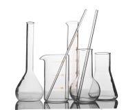 Laboratory glassware. Empty laboratory glassware with reflection  on white background Stock Photo