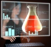 Laboratory glassware on futuristic  hologram Royalty Free Stock Images