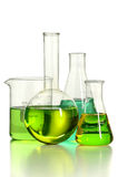 LAboratory Glassware with Green Liquid Stock Photography