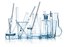 Laboratory glassware group stock images