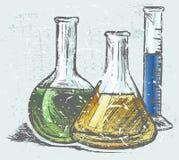 Laboratory glassware. Grunge style. Vector stock illustration