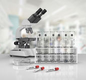Laboratory glassware with laboratory mic Royalty Free Stock Images