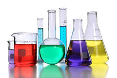 Laboratory Glassware With Liquids Royalty Free Stock Photos