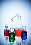 Laboratory glassware with liquids Royalty Free Stock Photo