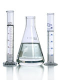 Laboratory Glassware With Liquids Royalty Free Stock Images