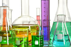 Laboratory Glassware With Liquids Stock Photography