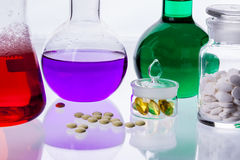 Laboratory glassware with liquids of different col Stock Images