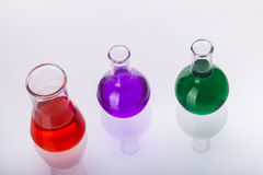 Laboratory glassware with liquids of different col Royalty Free Stock Photo