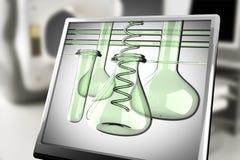 Laboratory glassware on monitor in laboratory Stock Photography