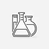 Laboratory glassware outline icon. Vector flasks and test tube chemistry concept thin line sign Stock Photo