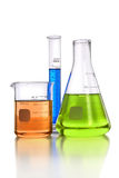 Laboratory Glassware over White background Royalty Free Stock Images