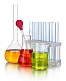 Laboratory glassware with reflections Royalty Free Stock Image