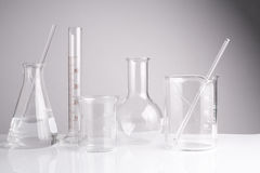 Laboratory glassware on table, Symbolic of science research. Stock Photo