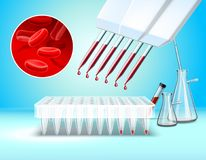 Laboratory Glassware And Tests Composition. With blood test symbols realistic vector illustration Royalty Free Stock Image