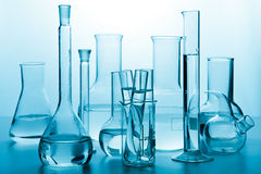 Laboratory glassware toned blue Stock Images
