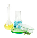 Laboratory glassware on white background Stock Images
