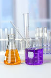 Laboratory Glassware on White Table Royalty Free Stock Photo