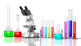 Laboratory  glassware whith color liquid Royalty Free Stock Image