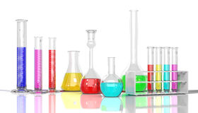 Laboratory  glassware whith color liquid Stock Images