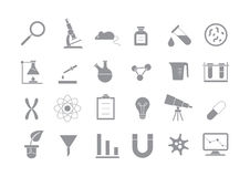 Laboratory gray vector icons set. Set of 24 Laboratory gray vector icons Royalty Free Stock Image