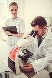 At the laboratory Royalty Free Stock Photo