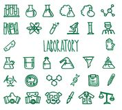 Laboratory icon set. Set of 32 Laboratory hand drawn green icons drawn with a felt-tip pen Royalty Free Stock Photography