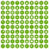 100 laboratory icons hexagon green. 100 laboratory icons set in green hexagon isolated vector illustration Stock Images