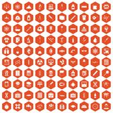 100 laboratory icons hexagon orange. 100 laboratory icons set in orange hexagon isolated vector illustration Royalty Free Stock Image