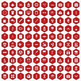 100 laboratory icons hexagon red. 100 laboratory icons set in red hexagon isolated vector illustration Stock Image