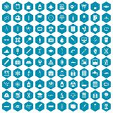 100 laboratory icons sapphirine violet. 100 laboratory icons set in sapphirine hexagon isolated vector illustration Stock Images