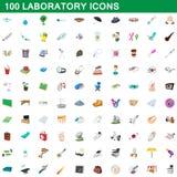 100 laboratory icons set, cartoon style. 100 laboratory icons set in cartoon style for any design illustration royalty free illustration