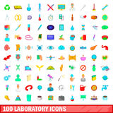 100 laboratory icons set, cartoon style. 100 laboratory icons set in cartoon style for any design vector illustration Royalty Free Stock Image