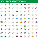 100 laboratory icons set, cartoon style. 100 laboratory icons set in cartoon style for any design vector illustration Royalty Free Stock Photos