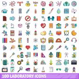 100 laboratory icons set, cartoon style Stock Photos
