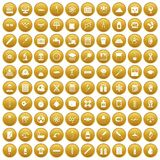100 laboratory icons set gold. 100 laboratory icons set in gold circle isolated on white vectr illustration Royalty Free Stock Photography