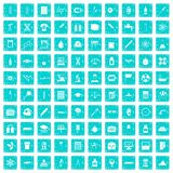 100 laboratory icons set grunge blue Royalty Free Stock Images