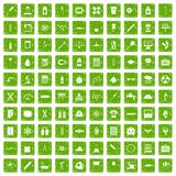 100 laboratory icons set grunge green Stock Photo