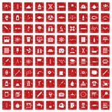 100 laboratory icons set grunge red Royalty Free Stock Images