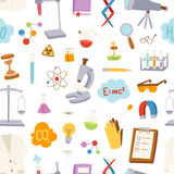 Laboratory icons vector pattern. Royalty Free Stock Photography