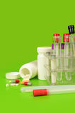 Laboratory instruments. Various laboratory equipment and pills Royalty Free Stock Photo