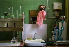 Laboratory. Interior. Manufacturing process. Normal working interior. Russian production stock images