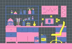 Laboratory interior. Workplace laboratory. Biological, medical or chemical laboratory. vector illustration