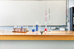 Laboratory items on the table with a white board Royalty Free Stock Photo