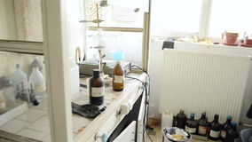 Laboratory with a lot of bottles stock video footage