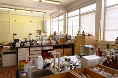 Laboratory with a lot of bottles Royalty Free Stock Photos
