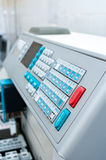 Laboratory machine detail. Detailed view of a laboratory blood testing machine with control panel focused Stock Photo