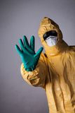Laboratory man in chemical protective dress Stock Photos