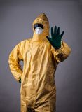 Laboratory man in chemical protective dress Royalty Free Stock Photo