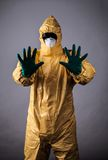Laboratory man in chemical protective dress Royalty Free Stock Image