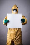 Laboratory man in chemical protective dress Stock Images